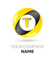 letter t logo symbol in the colorful circle vector image