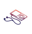 line technology mp3 with headphones to listen to vector image vector image