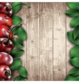 Many cherries and leaves on wooden background vector image vector image