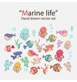 marine life hand drawn set vector image vector image