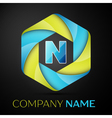 N Letter colorful logo in the hexagonal on black vector image vector image