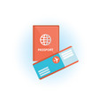 passport and plane ticket isolated objects vector image vector image