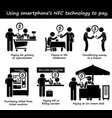 paying with phone nfc technology stick figure vector image
