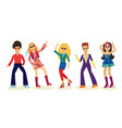 people dancing disco set with men and women in vector image vector image