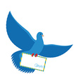 Postal pigeon Blue Dove with envelope Blue Bird vector image vector image