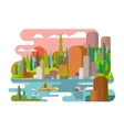Rafting on river flat style vector image vector image