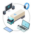 real time tracking for cargo trucks isometric vector image vector image