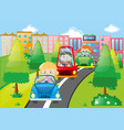 scene with kids driving cars in city vector image vector image