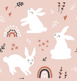 seamless pattern with hares branches and flowers vector image