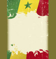 senegal flag grunge background vector image vector image