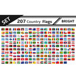 set 207 country flags with glitter effect vector image