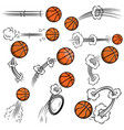 set of basketball balls with motion trails in vector image