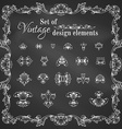 set of chalk retro page decorations and dividers vector image