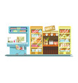 shop counters of supermarket store product stands vector image vector image