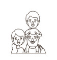 sketch contour caricature half body family parents vector image vector image