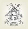 sketch farm with windmill vector image vector image