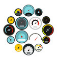 speedometer icons set flat style vector image vector image