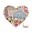 Traditional symbols of Italy in the form of heart vector image vector image