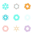 Types of artificial flowers icons set