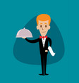 waiter holding a serving platter or silver cloche vector image