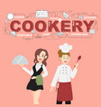 waitress and cookery with food icons design vector image vector image