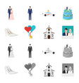 wedding and attributes cartoonmonochrome icons in vector image vector image
