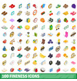 100 fineness icons set isometric 3d style vector image