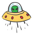 a ufo with alien inside color vector image