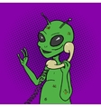 Alien talking phone pop art style vector image