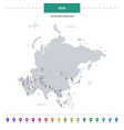 asia map with location pointer marks infographic vector image