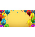 Background with balloons and confetti vector image vector image