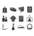 Black funeral and burial icons vector image