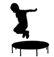 boy jump out from trampoline silhouette vector image vector image