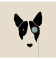 Bull terrier face with monocle vector image vector image