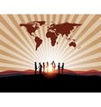 Business meeting with worldmap on mountain backgro vector image vector image