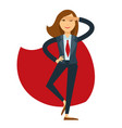 businesswoman in suit with red tie and cloak vector image