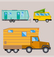 campers vacation travel car summer nature holiday vector image vector image