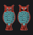 cartoon flat blue and red cute owls set vector image vector image