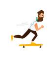 cartoon hipster skateboarding vector image vector image