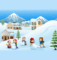 cartoon kids playing in the snow vector image