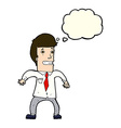 cartoon nervous businessman with thought bubble vector image vector image