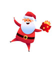 cartoon santa claus with present box vector image vector image