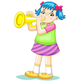cartoon trumpet girl vector image vector image