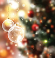 christmas baubles on defocussed lights background vector image vector image