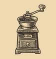 coffee grinder sketch vintage vector image vector image