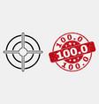 contour bullseye icon and distress 1000 vector image vector image