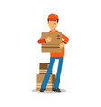 delivery man standing and holding cardbox courier vector image vector image