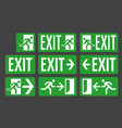 exit green color signs set vector image