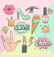 fashion patch badges vector image