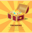 glossy treasure chest banner vector image vector image